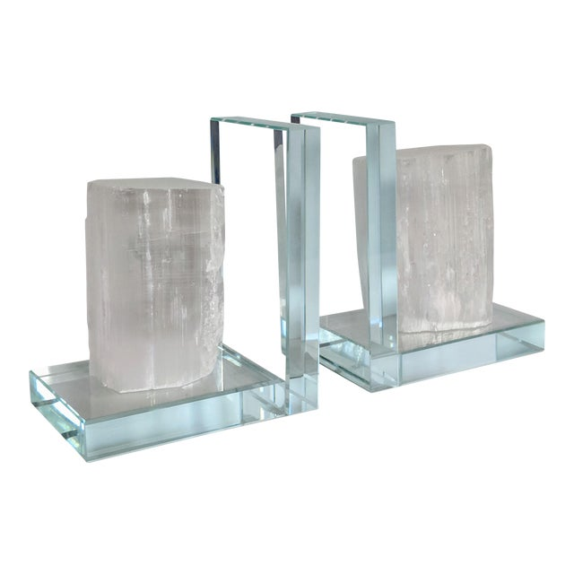 Lead Crystal & Selenite Bookends - Two (2) For Sale
