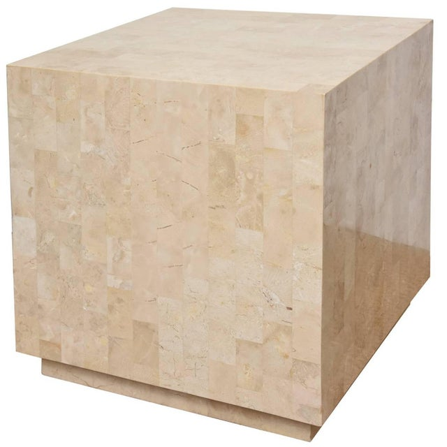 1970s Modern Maitland-Smith Tessellated Stone Cube Side Table For Sale - Image 9 of 9