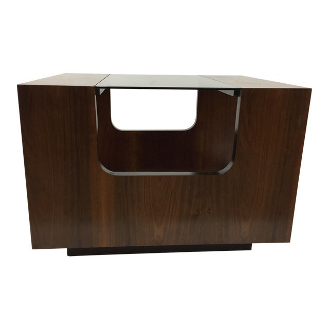1970s Lane Smoked Glass Walnut Cubed Side Table For Sale