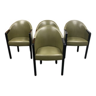 Poltrona Frau Leather Arm Chairs- Set of 4 For Sale
