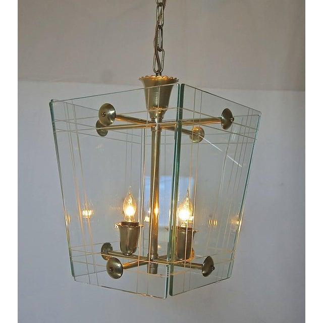 Mid-Century Modern 1950s Italian Fontana Arte Style Hall Entry Glass Pendant For Sale - Image 3 of 13