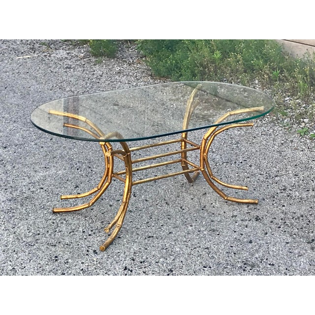 1960s Hollywood Regency Gilt Faux Bamboo Glass Top Coffee Table For Sale - Image 13 of 13
