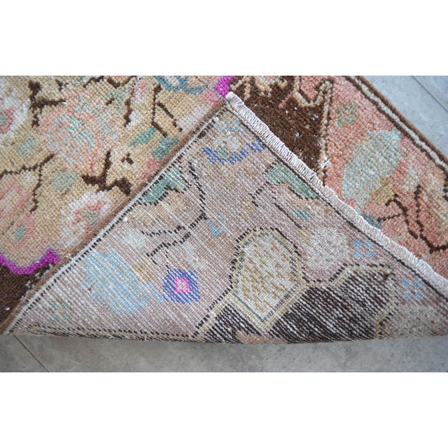 Low Pile Turkish Rug Hand Knotted Faded Mat Small Area Rug - 1′6″ × 2′11″ For Sale - Image 4 of 6