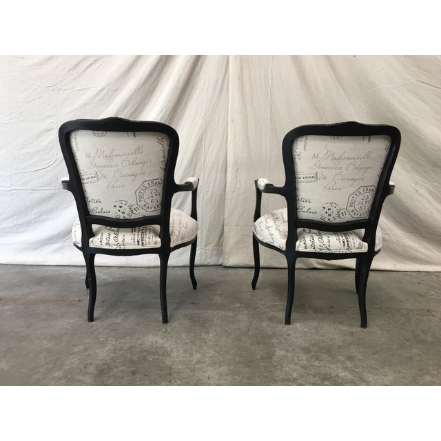 Black 1910s French Antique Louis XV Style White Linen Arm Chairs - a Pair For Sale - Image 8 of 12