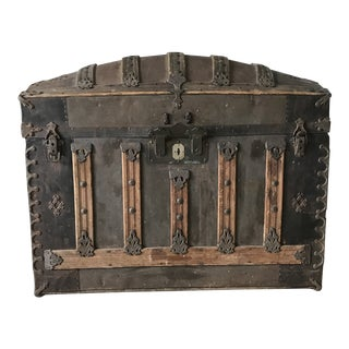 1880s Antique Victorian Metal & Wood Dome Top Trunk