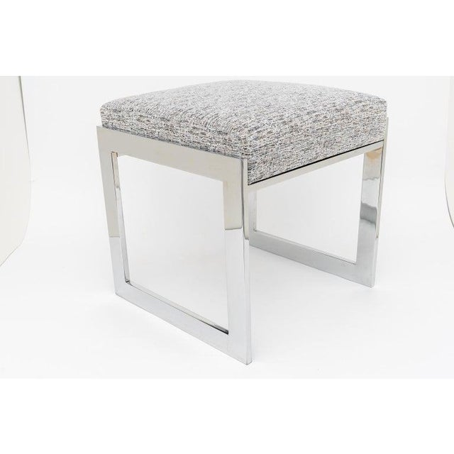 1970s Milo Baughman Mid-Century Flat-Bar Nickel Plated Benches - a Pair For Sale - Image 5 of 11