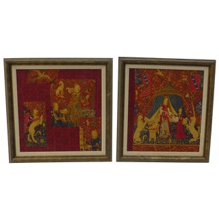 English Country Framed Tapestry - A Pair