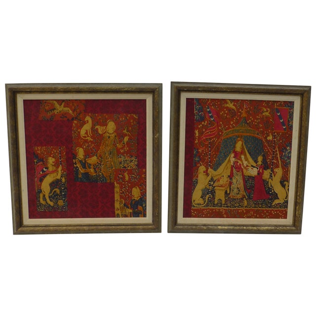 English Country Framed Tapestry - A Pair For Sale
