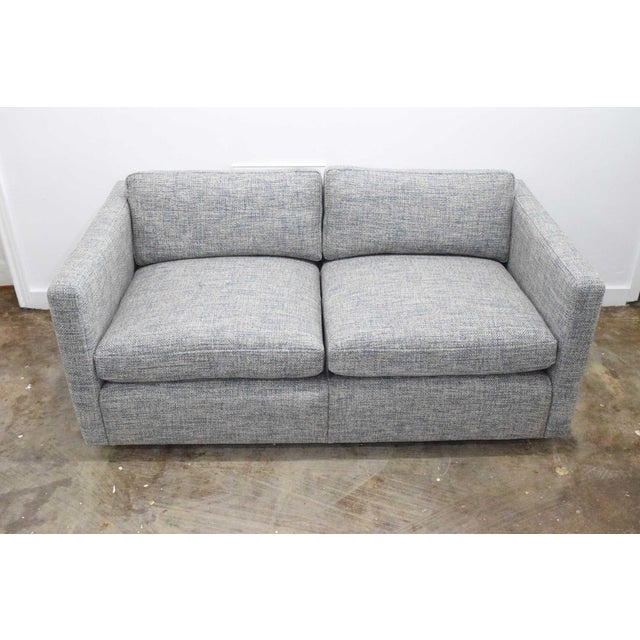 Charles Pfister for Knoll Settee in Pollack Blue Weave Fabric For Sale In Dallas - Image 6 of 10