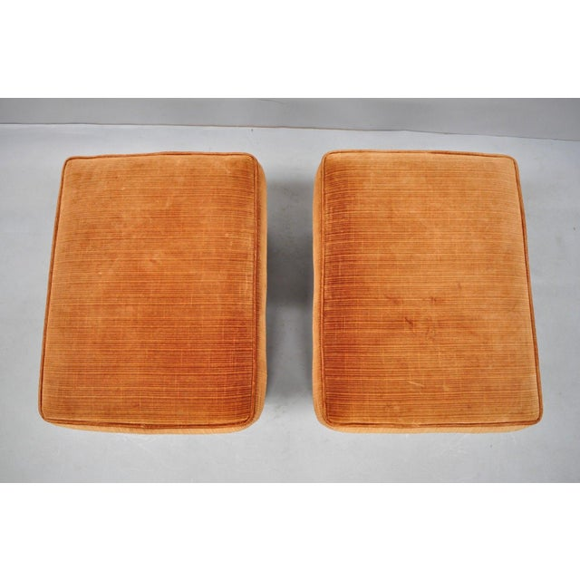 Mid 20th Century Vintage Mid Century Orange X-Base Frame Upholstered Hollywood Regency Stools- A Pair For Sale - Image 5 of 10