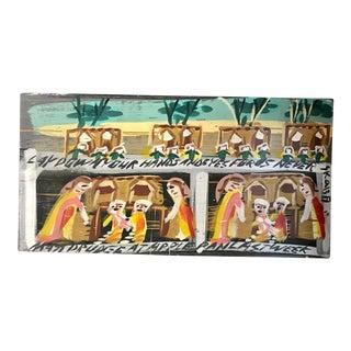 Vintage Folk Art Painting on Wood Board For Sale