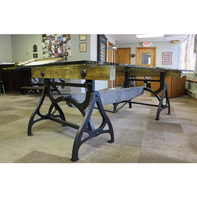 Industrial Cast Iron & Wood Brake Conference Table For Sale - Image 9 of 11