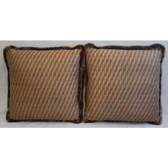 "Contemporary 23"" Custom Tailored Italian Mariano Fortuny Piumette Feather/Down Pillows - Pair For Sale - Image 3 of 11"