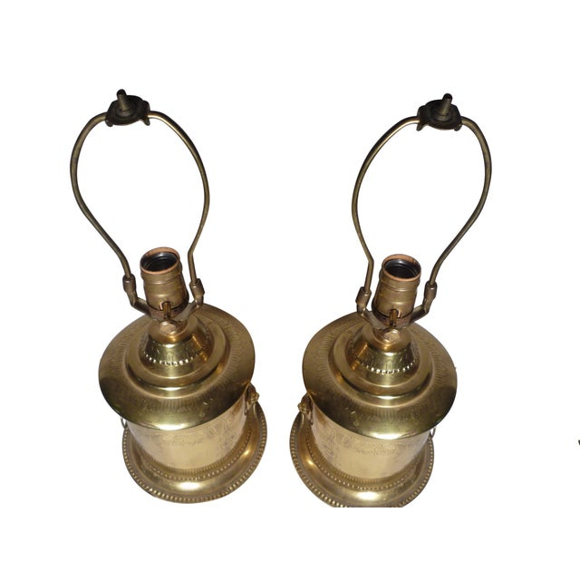 Brass Lion Head Hollywood Regency Lamps - A Pair - Image 1 of 6