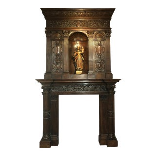 Hand-Carved Renaissance Style Wood Mantel with Trumeau For Sale