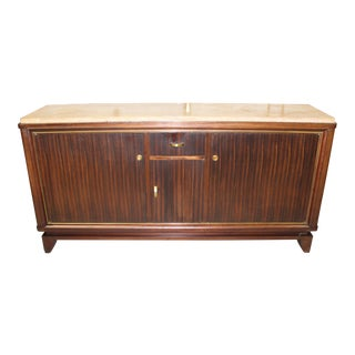 Beautiful French Art Deco Macassar Ebony Sideboard or Buffet By Maurice Rinck Marble top, Circa 1940s.
