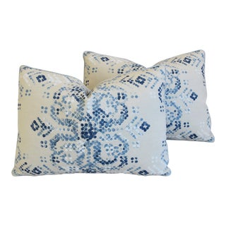 "Designer Villa Nova Marit Blue & White Linen Feather/Down Pillows 22"" X 16"" - Pair"