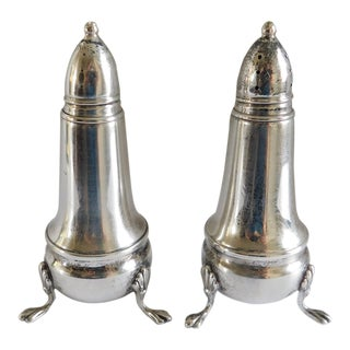 Crown Sterling 1930s Footed Salt & Pepper Shakers For Sale