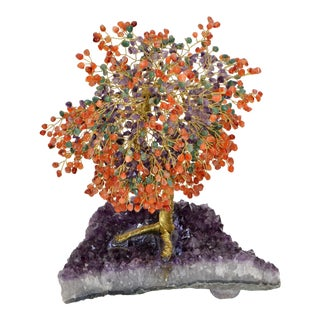 Handcrafted Arts & Crafts Tree Metal Sculpture Beads Purple Amnesty Fossil Base For Sale