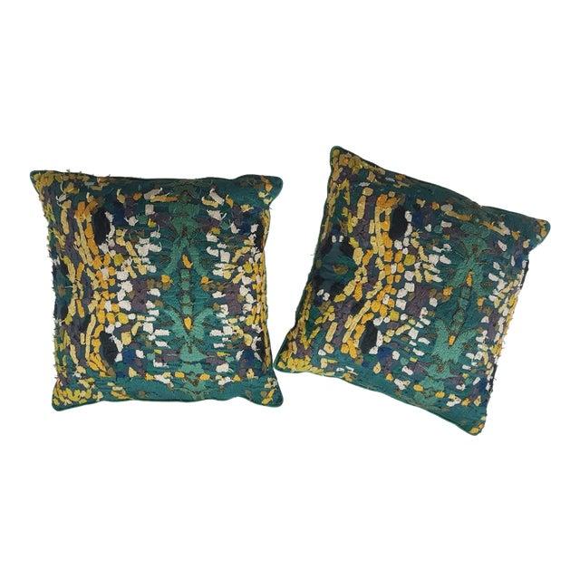 Velvet Beaded Throw Pillows - A Pair - Image 1 of 7