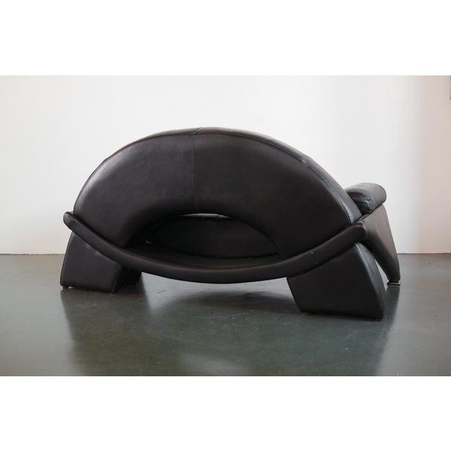Animal Skin Post Modern Italian Black Leather Sofa For Sale - Image 7 of 10