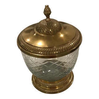 Brass & Cut Glass Lidded Jar For Sale