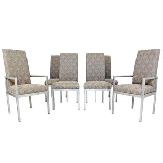 Mid-Century Modern Set of Six Milo Baughman for Dia Chrome Dining Chairs For Sale