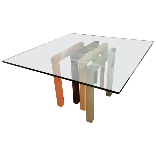 1980s Saporiti Dining Table Base with Glass Top For Sale In New York - Image 6 of 6