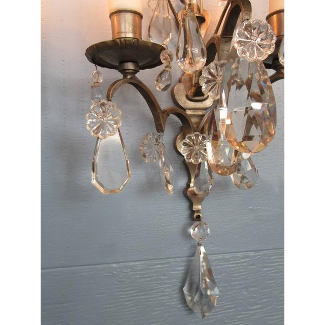 Pair of Mid-19th Century Italian Baroque Silvered Bronze and Crystal Sconces For Sale In Charleston - Image 6 of 8