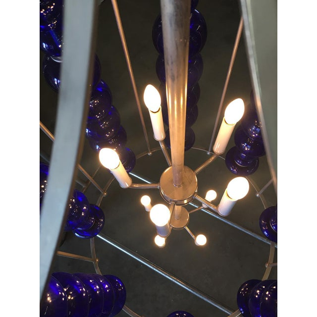 Modern Stacked Cobalt Glass Chandelier W/ Nickel Finish For Sale - Image 4 of 7