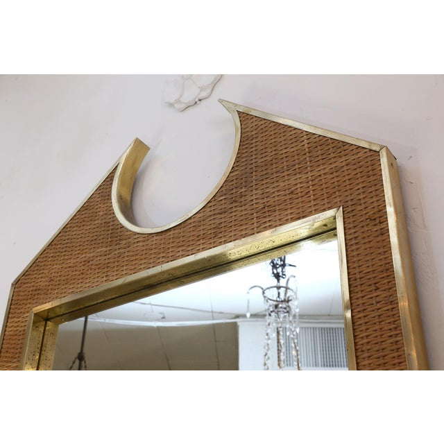 Two Large French Braided Rattan Frame Mirrors For Sale - Image 4 of 10