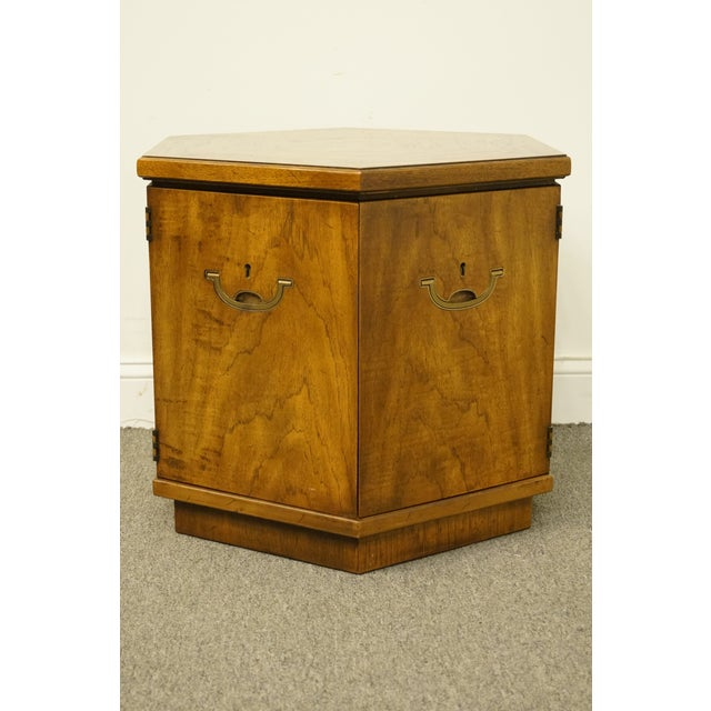 20th Century Campaign Drexel Heritage Accolade II Collection Hexagonal Storage Cabinet For Sale In Kansas City - Image 6 of 11