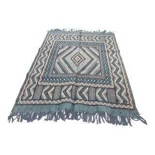 Tunisian Mergoum Blue and Pink Kilim Wool Rug - 5′ × 7′ For Sale