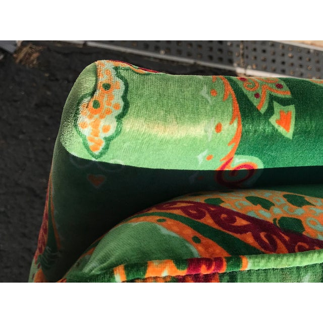 1980s Vintage Velvet Paisley Parsons Chair For Sale In New York - Image 6 of 11