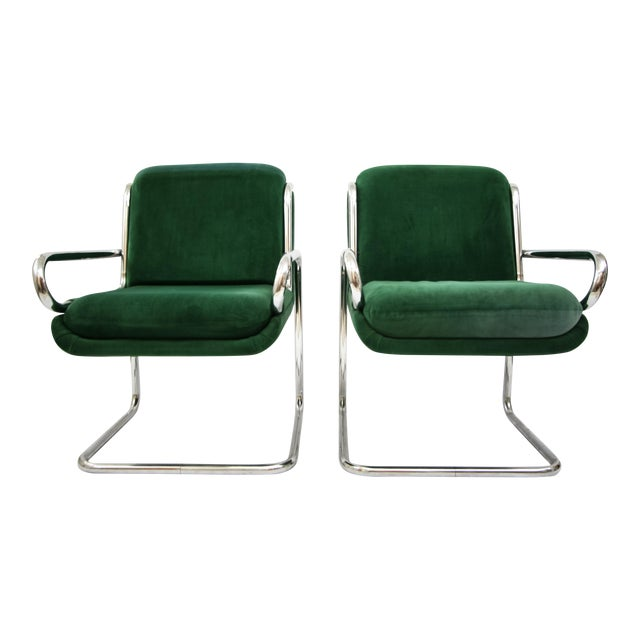 Dunbar Reversed Cantilever Tubular Chrome Chairs - A Pair - Image 1 of 7