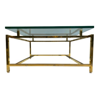 1970s Mid-Century Modern Brass and Glass Coffee Table For Sale