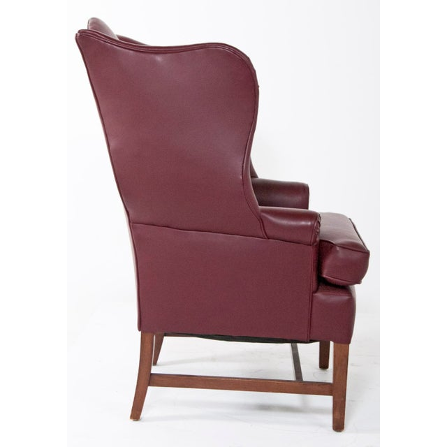 1920s English Vinyl Wingback Arm Chair For Sale - Image 4 of 8
