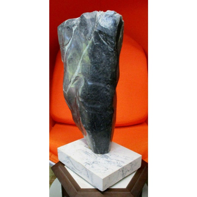 Large Abstract Picasso Style Green Marble Torso Sculpture on Base For Sale - Image 4 of 11