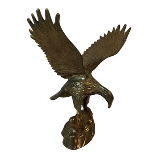 Vintage Brass Eagle With Spread Wings