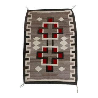 Navajo Hand Woven Wool Rug w/Red & Brown Geometrics c1930s