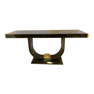 Art Deco Style Ebony and Gold Console, Serving Table For Sale