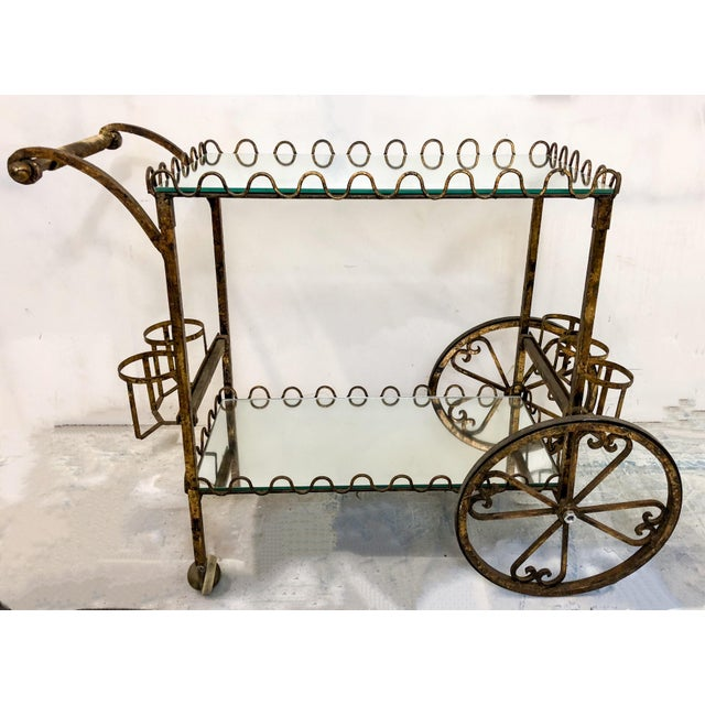 Hollywood Regency Italian Gilt Metal Bar Cart For Sale - Image 5 of 6