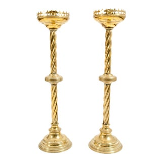 Tall Decorative 19th Century Gothic Style Brass Candlesticks - a Pair For Sale