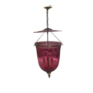 Cranberry Glass Bell Jar Lighting Fixture For Sale