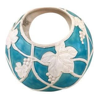 Marked Moriyama Mori-Machi Small Porcelain Basket Vase