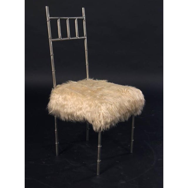 Nickel over Iron Bamboo Chairs with Goat Fur Seats - A Pair - Image 3 of 6