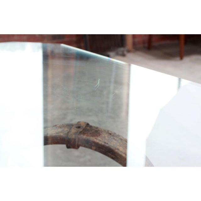 Vintage Jacques Adnet / Hermes Style Cast Iron Leather Equestrian Strap Coffee Table For Sale - Image 10 of 11