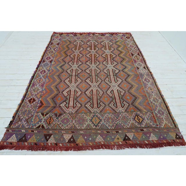 This beautiful embroidered rug from westhern of turkey. Oushak nomads kilim weaved with traditional turkish kilim...