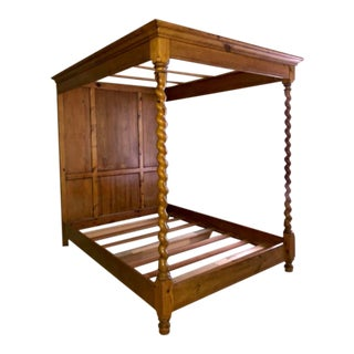 1980s Maple Hand Carved Barley Twist Queen Four Poster Bed For Sale