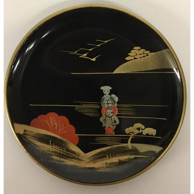 Vintage Mid-Century Modern Lacquer Coaster Set - Set of 5 For Sale - Image 4 of 11